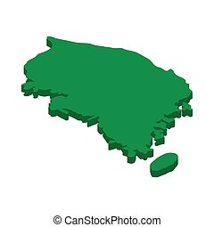 Map of South Korea icon, isometric 3d style