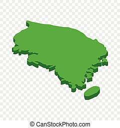 Map of South Korea isometric icon
