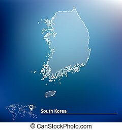 Map of South Korea - vector illustration