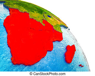 Map of Southern Africa on 3D Earth