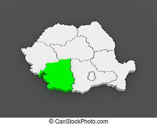 Map of Southwest Development Romania. 3d