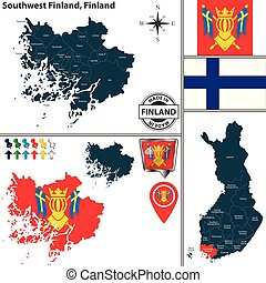 Map of Southwest Finland, Finland - Vector map of Southwest...
