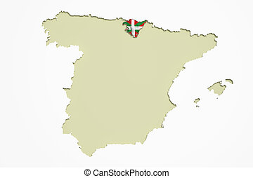 Map of Spain and Basque Country - 3d rendering contour of...