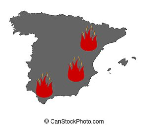 Map of Spain and fire symbol