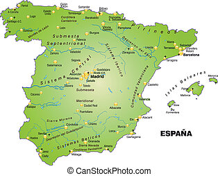 Map of Spain as an overview map in green