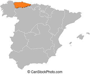 Map of Spain, Asturias highlighted