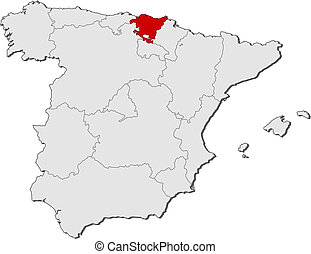 Map of Spain, Basque Country highlighted - Political map of...