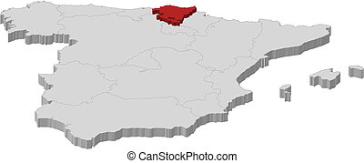 Map of basque country spain Vector map of region of basque