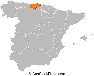 Map of Spain, Cantabria highlighted