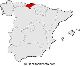 Map of spain, cantabria highlighted. Political map of spain with the ...