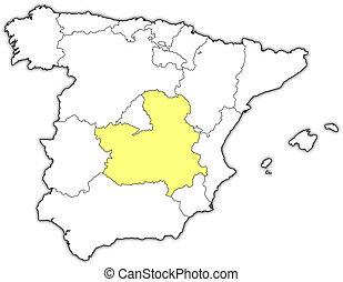Map spain castilela mancha 3dillustration Map of stock