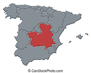 Map of Spain, Castile-La Mancha highlighted - Political map ...