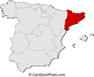 Map of Spain, Catalonia highlighted - Political map of Spain...