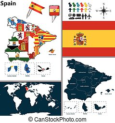 Map of Spain - Vector map of Spain with regions with flags