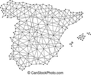 Map of Spain from polygonal black lines and dots of vector illustration
