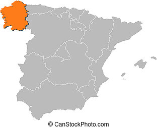 Map of Spain, Galicia highlighted