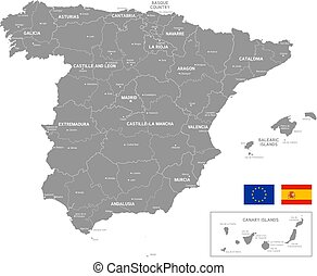 Map of Spain, grey vector illustration