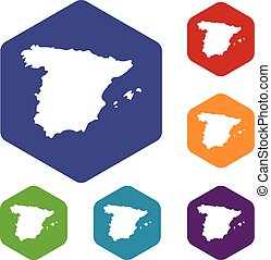 Map of Spain icons set