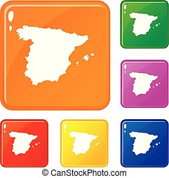 Map of Spain icons set vector color