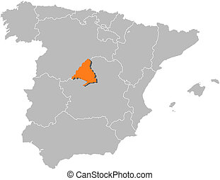 Map of Spain, Madrid highlighted