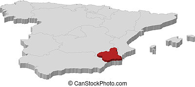 Map of Spain, Murcia highlighted