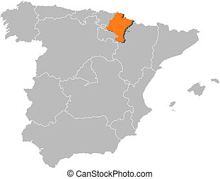 Map of Spain, Navarre highlighted - Political map of Spain...