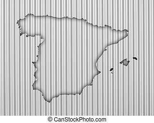 Map of Spain on corrugated iron