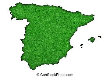 Map of Spain on green felt