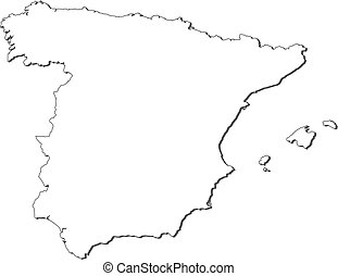 Map Of Spain Drawing.A Map With Pointers Of The Country Of Spain