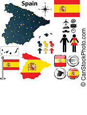 Map of Spain - Vector set of Spain country shape with flags...