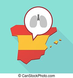 Map of Spain with a healthy human lung icon