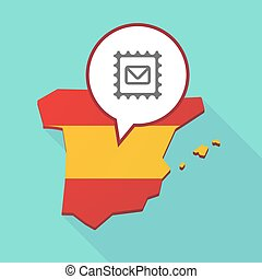 Map of Spain with  a mail stamp sign