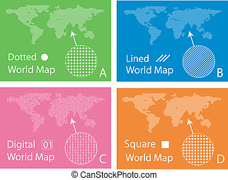 Map of squares, circles, digital and lines