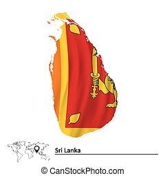 Map of Sri Lanka with flag