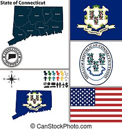 Map of state Connecticut, USA - Vector set of Connecticut...
