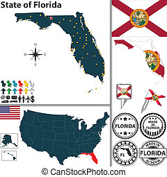 Vector set of Florida state with flag and icons on white background