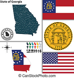 Vector set of Georgia state with flag and icons on white background