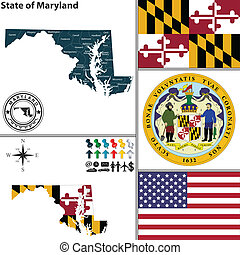 Vector set of Maryland state with flag and seal on white background