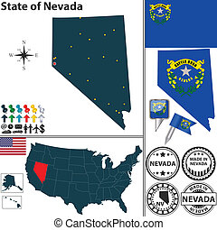 Vector set of Nevada state with flag and icons on white background