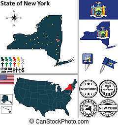 Map of state New York, USA - Vector set of New York state...