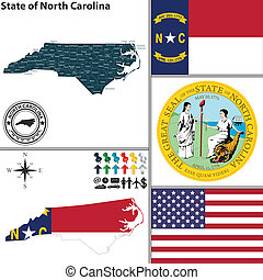 Vector set of North Carolina state with flag and icons on white background