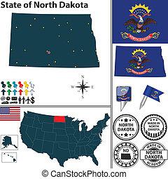 Map of state North Dakota, USA - Vector set of North Dakota...