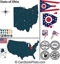 Map of state Ohio, USA - Vector set of Ohio state with flag ...