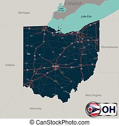 Map of state Ohio, USA