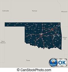 Map of state Oklahoma, USA