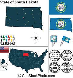 Map of state South Dakota, USA - Vector set of South Dakota...