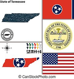 Vector set of Tennessee state with flag and icons on white background