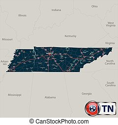 Vector set of Tennessee state with roads map, cities and neighboring states