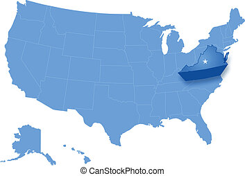 Map of States of the United States where Virginia is pulled...