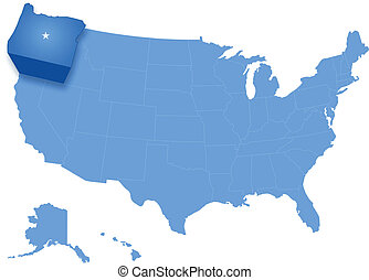 Political map of United States with all states where Oregon is pulled out